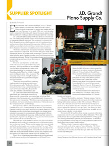 J.D. Grandt Piano Supply featured in Canadian Music Trade magazine