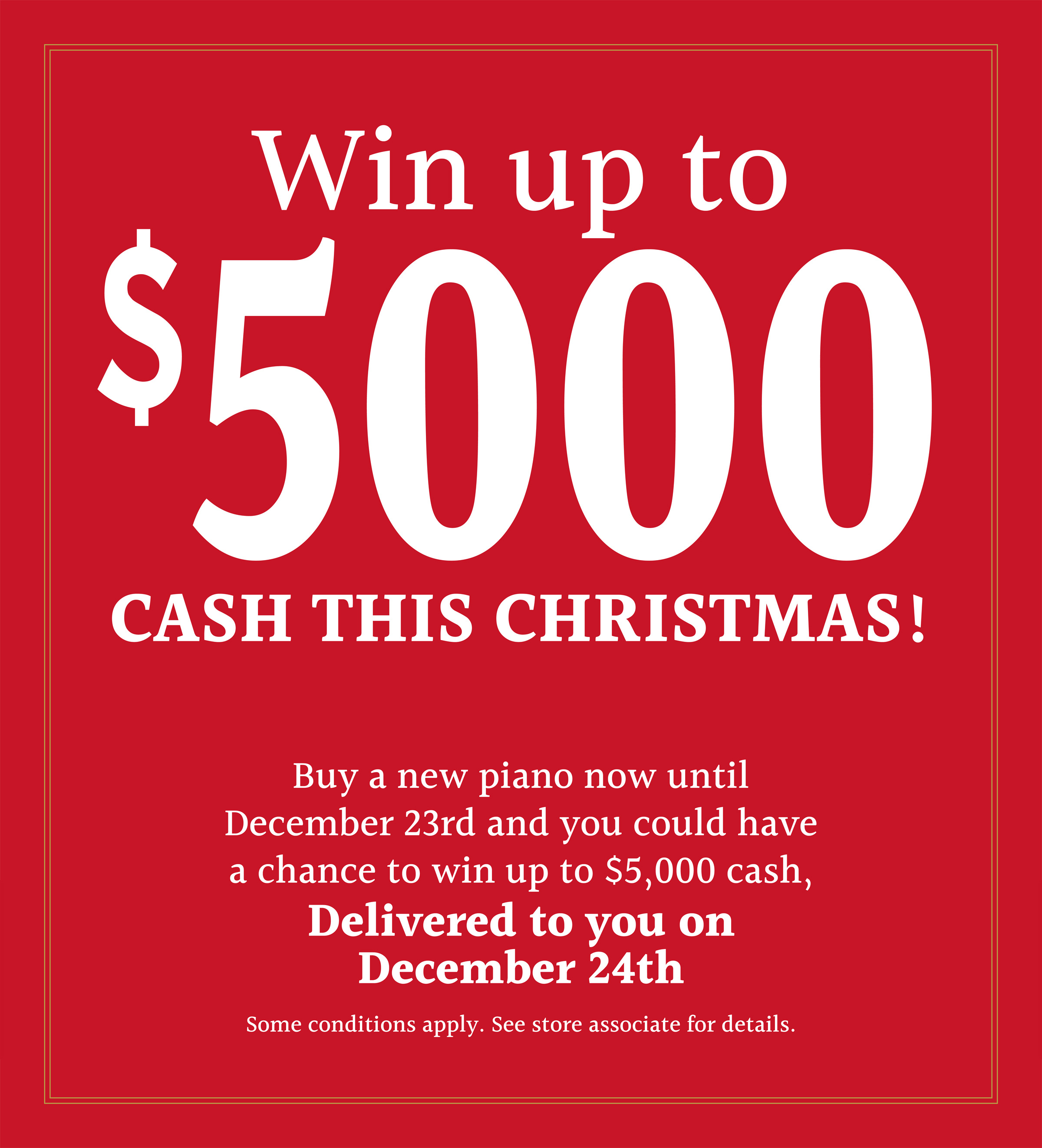 Win up to $5000 cash this Christmas!